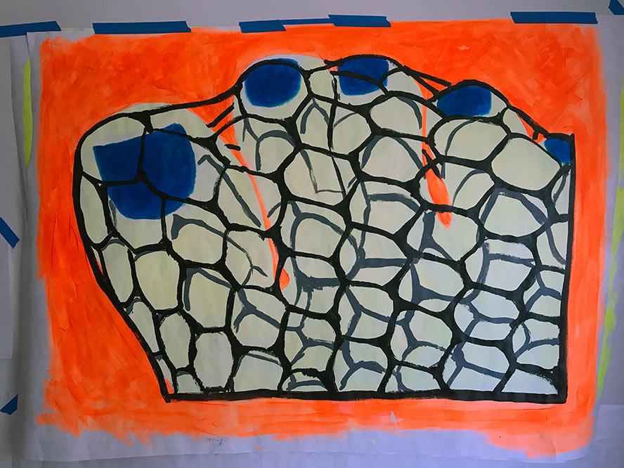 Blue nail polish and orange fishnets