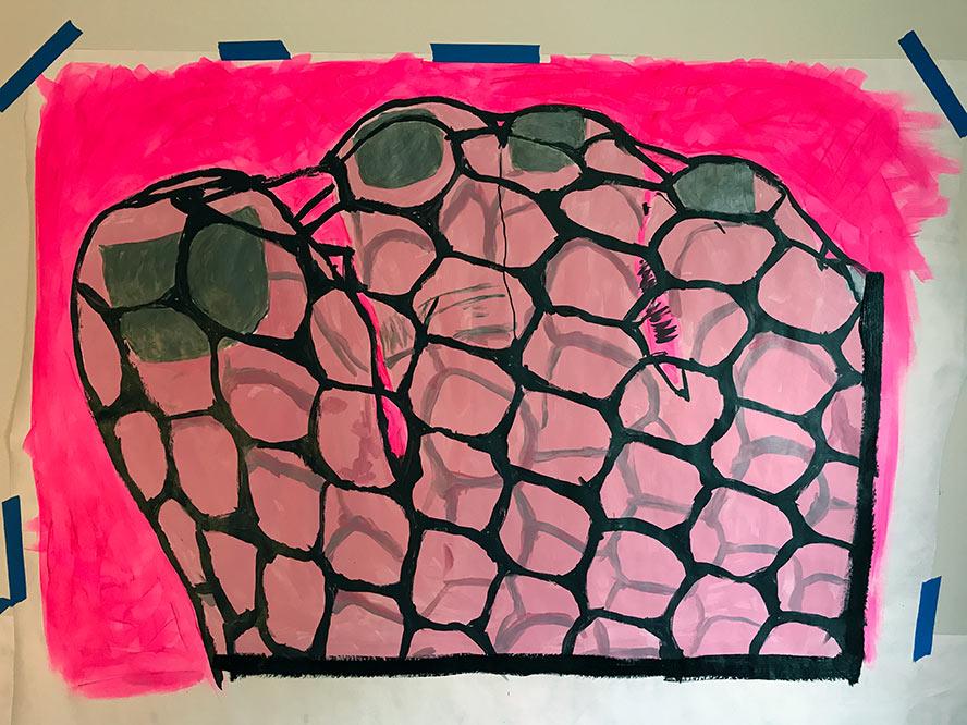 Pink Fishnets and gray nail polish