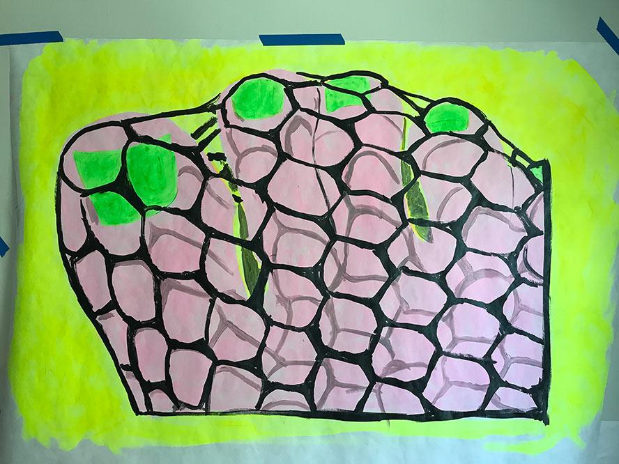 Yellow Fishnets and green nail polish