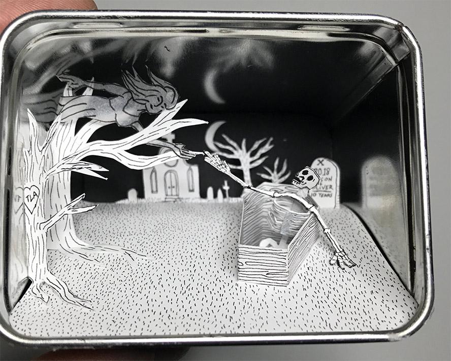 Scene inside a tin