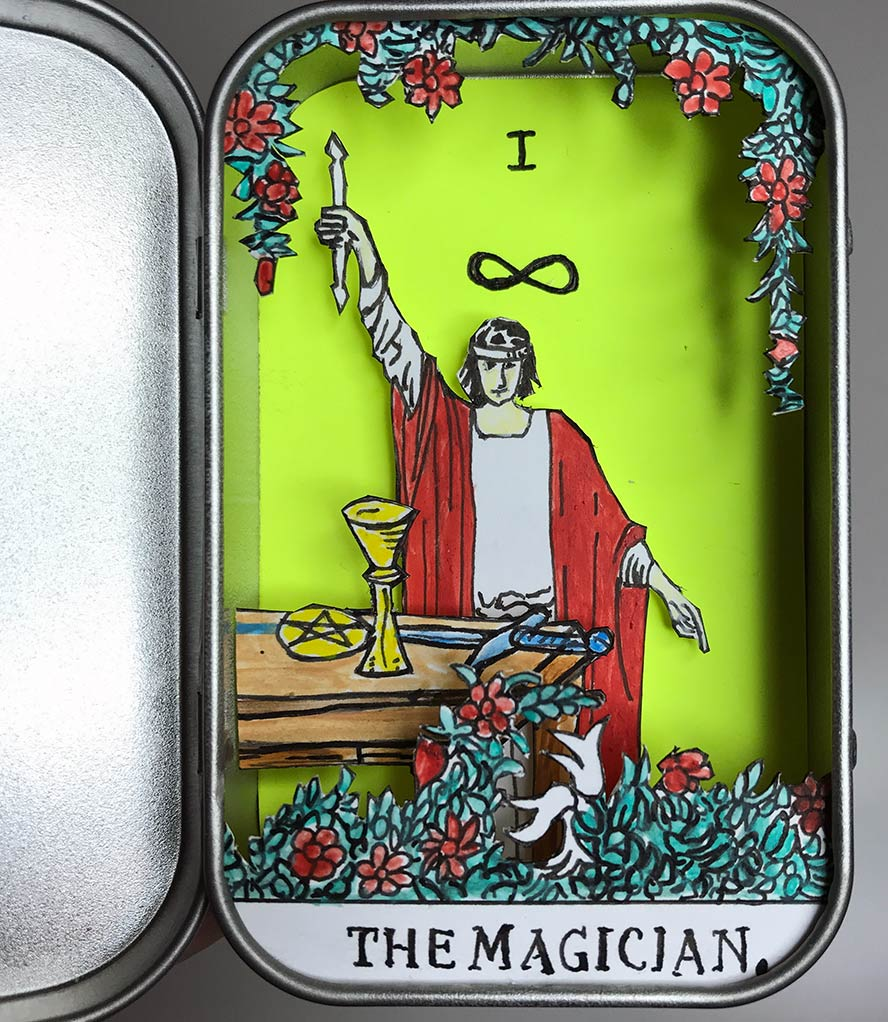 The Magician 3D tarot card diorama