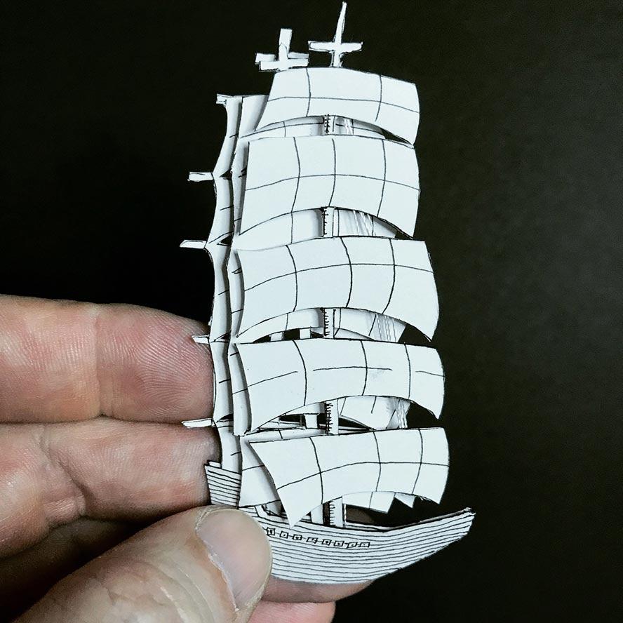 A paper-cut ship WIP