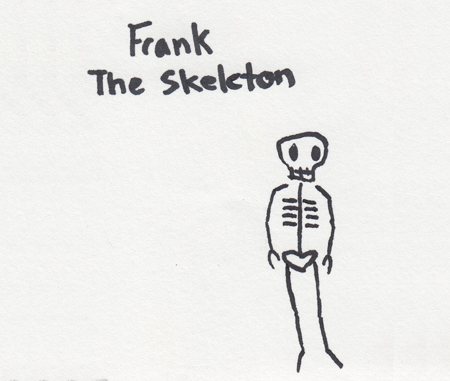 Frank the Skeleton drawing by Lily