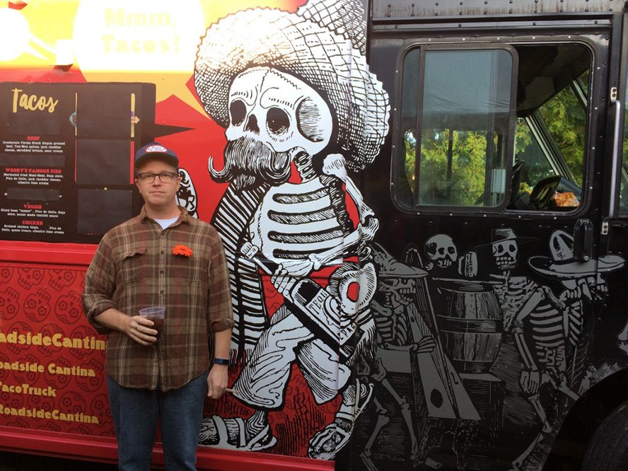 Jim Doran and Friend at a Taco Truck