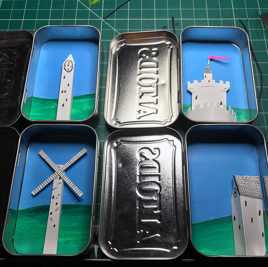 Work in progress, a view inside altoid tins
