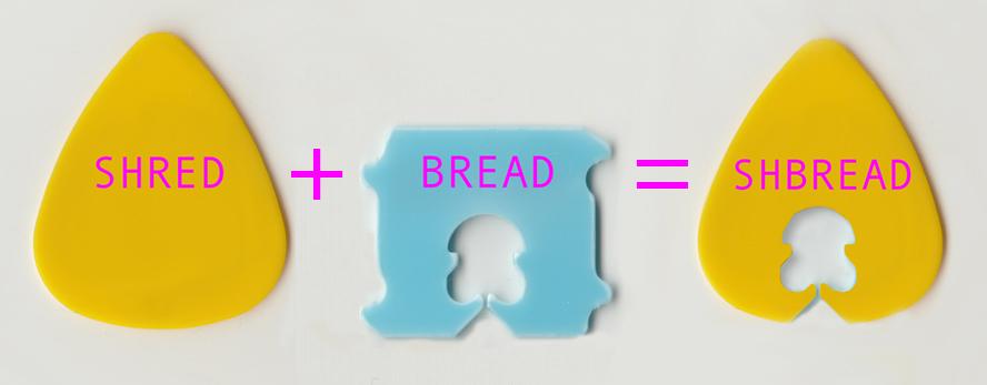 A guitar pick, a plastic bread tie, and a guitar pick with the hole from a plastic bread tie