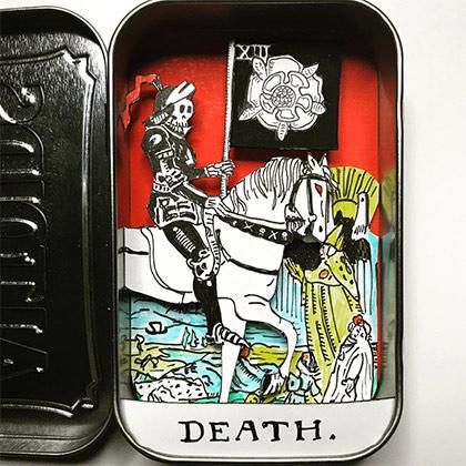 3D death tarot card in an altoids tin