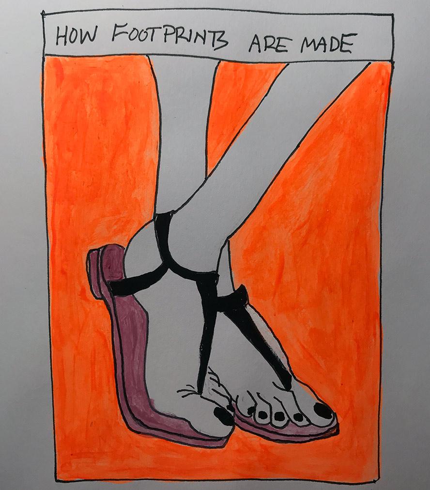 Women's feet in thong sandals