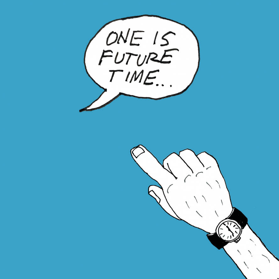 One watch marks future time...