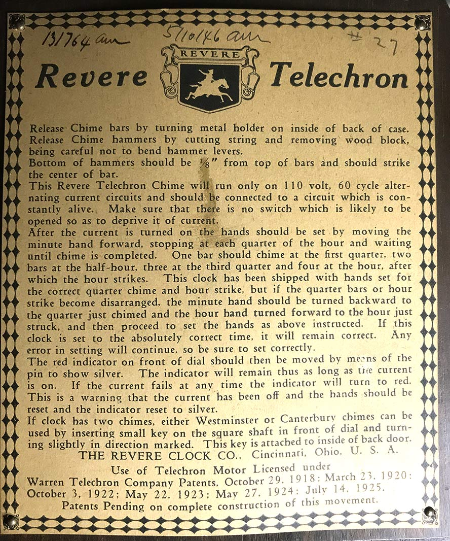 Revere Telechron documentation