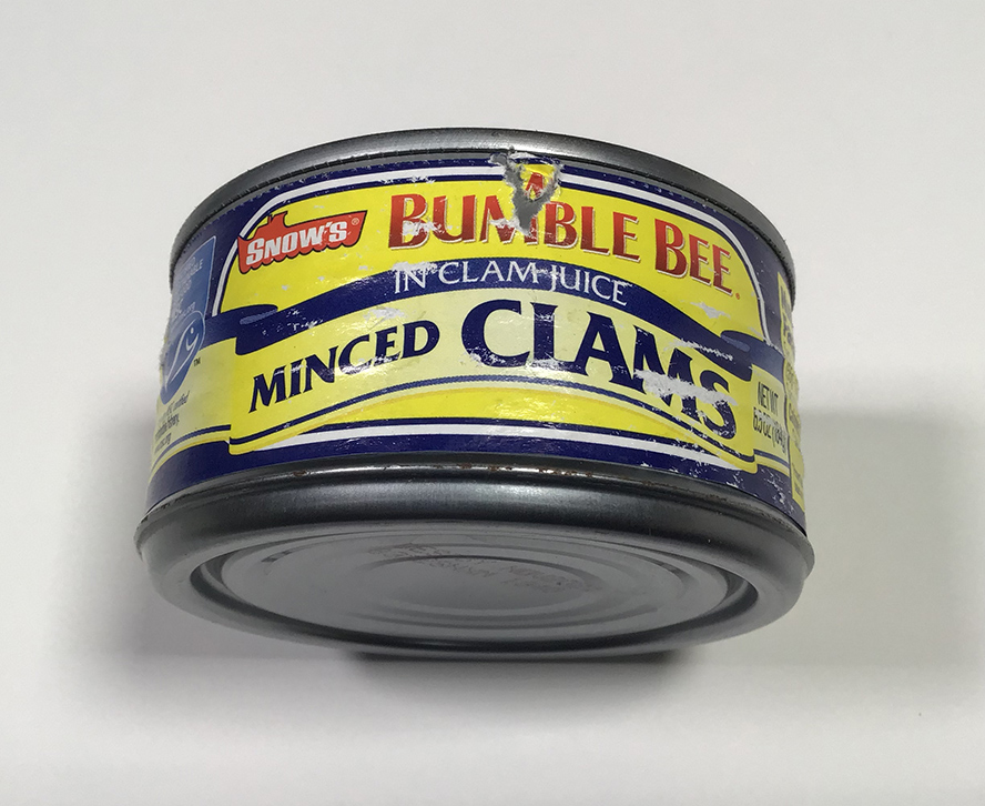 An old can of bumble bee clams