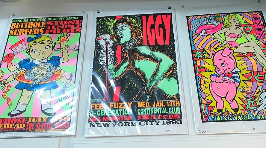 Brightly colored tour posters