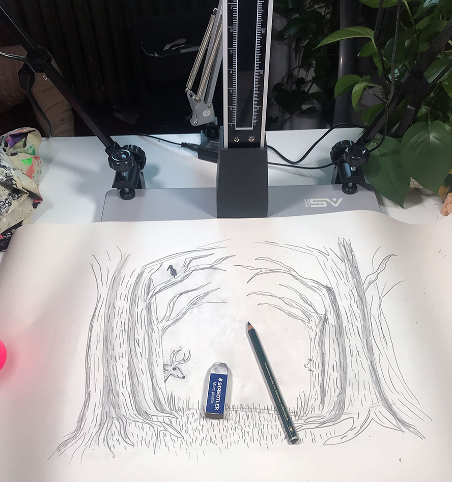 A pencil drawing on a camera stand