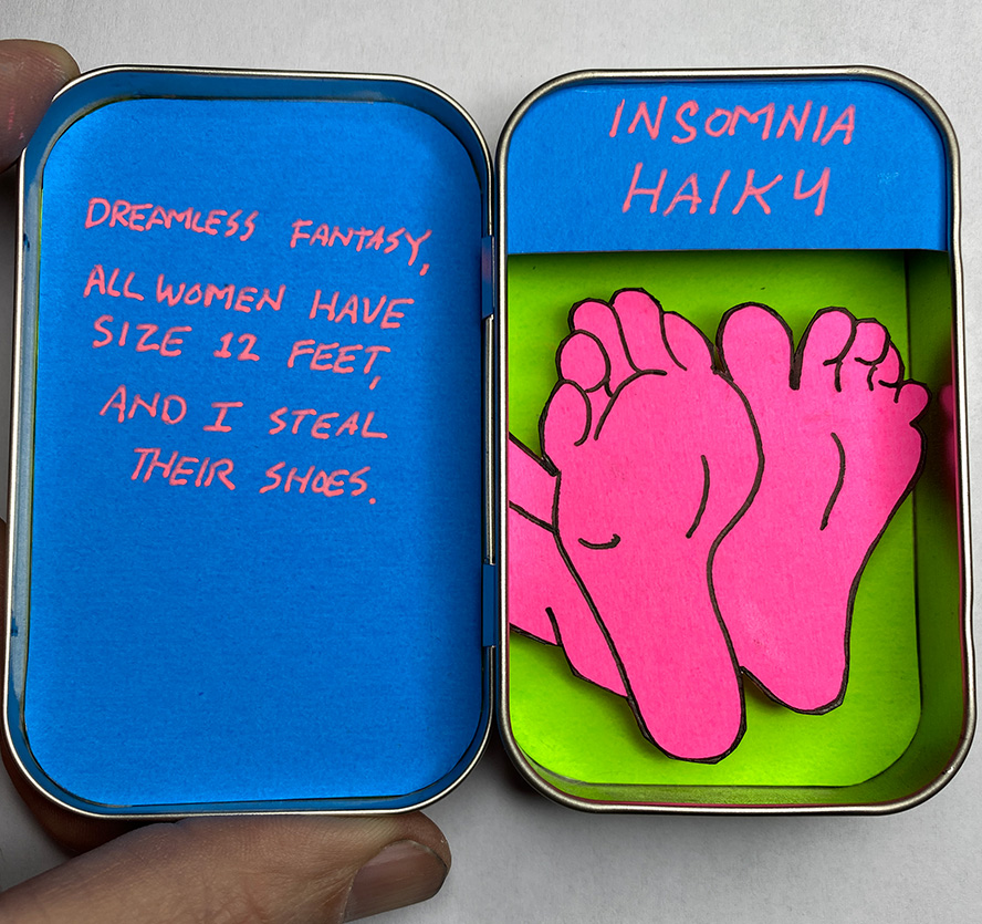 Poem in an altoids tin with the soles of feet
