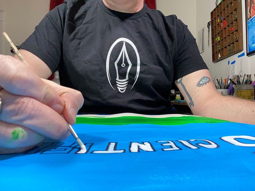 Me, painting letters.