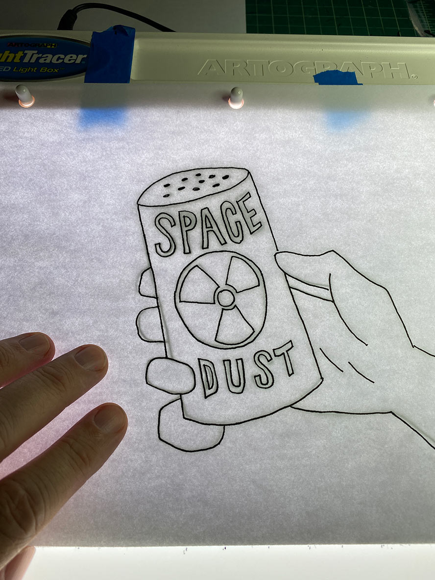 Drawing of a hand holding a can of space dust.