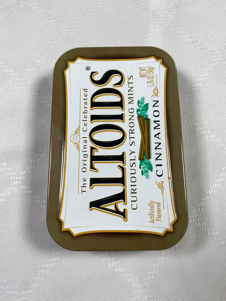 Weathered cinnamon Altoids box