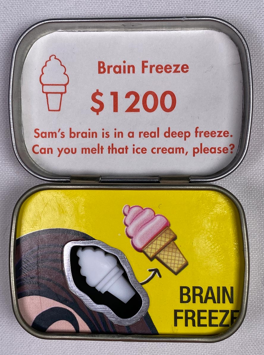 Operation Game parts in a smalls altoids tin - Brain Freeze