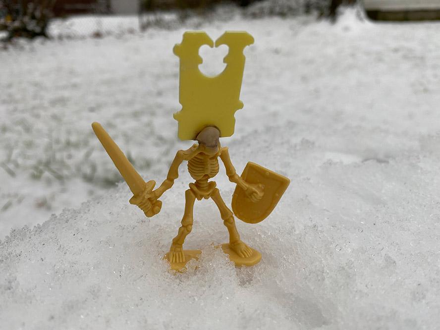 Skeleton with a bread tie head