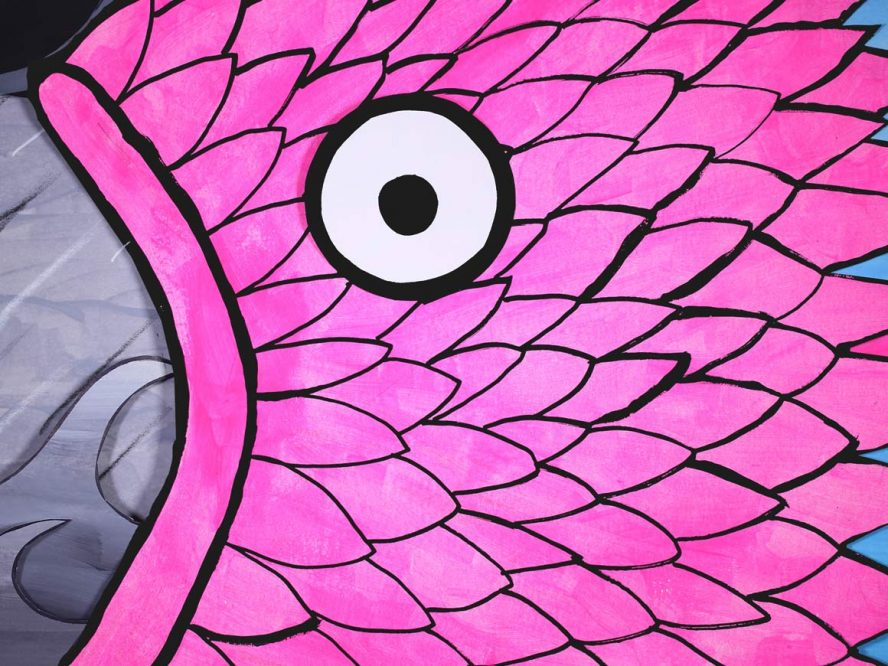 A drawing of a neon pink fish head.