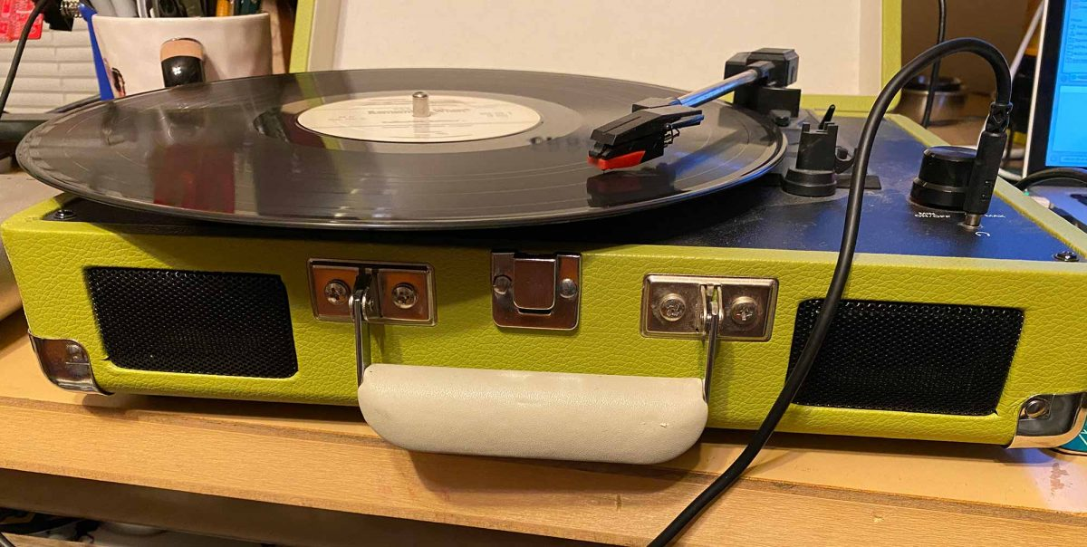 A record spinning on a turntable
