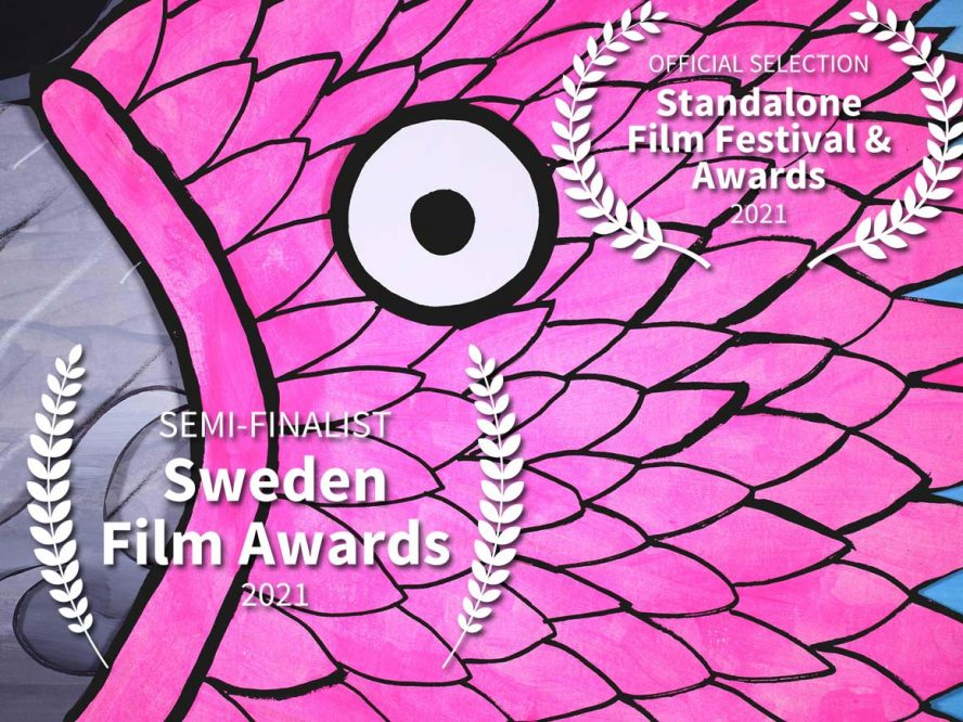 A neon pink cartoon fish head with film festival laurels overlaid