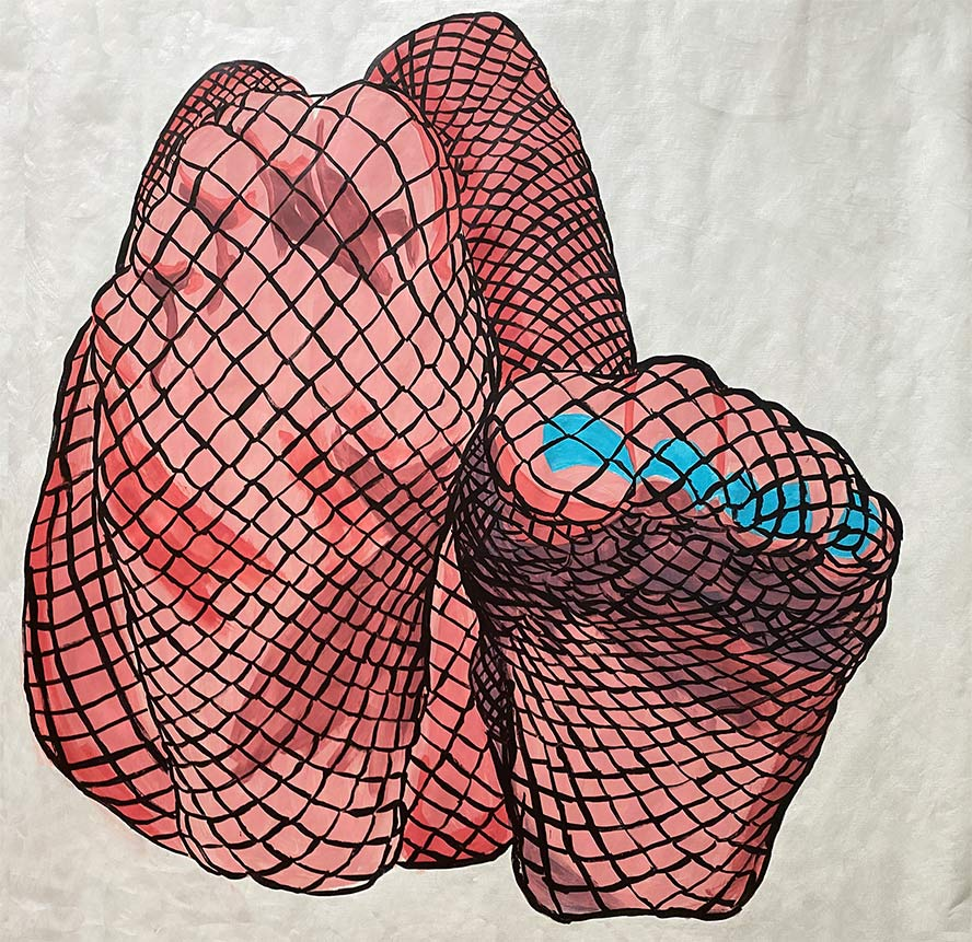 Painting of fishnet clad soles facing the viewer