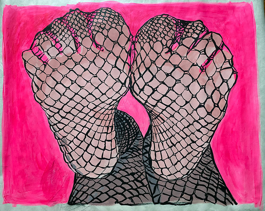 Painting of fishnet clad soles on a neon pink background