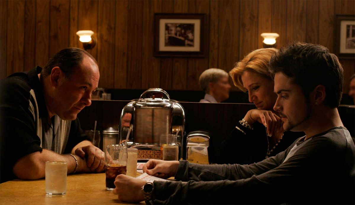 Tony, Karmela and AJ soprano in a diner